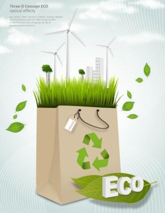Green ECO Concept Paper Shopping Bag Vector