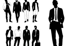 Modern City Man Silhouettes Vector 02
