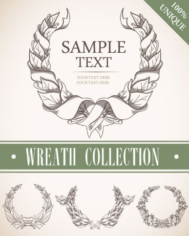 Set Of Vintage Wreath Designs Vector 01