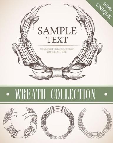 Set Of Vintage Wreath Designs Vector 04