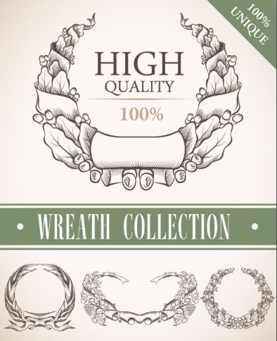 Set Of Vintage Wreath Designs Vector 05