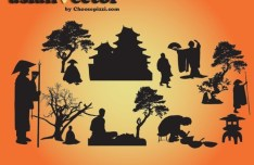 Traditional Oriental People Silhouettes Vector