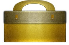 Yellow Leather Business Bag Icon Vector PSD