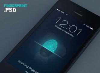 Fingerprint Scanning Interface For iPhone 5S PSD