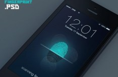 Fingerprint Scanning Interface For iPhone 5S PSD