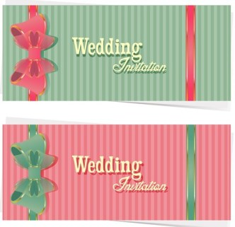 Sweet Wedding Invitation Cards With Ribbon Bows Vector 01