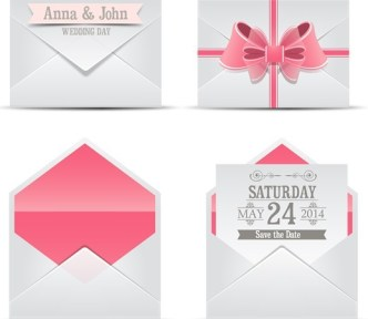 Sweet Wedding Invitation Cards With Ribbon Bows Vector 04