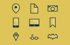 Yellow Flat Icon Set PSD