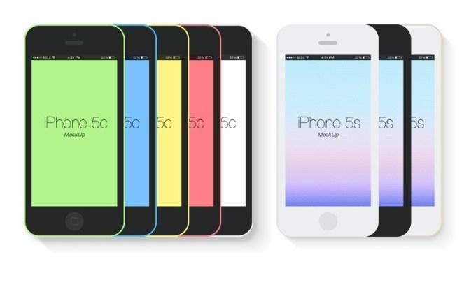 Flat iPhone 5S 5C Mockup Templates PSD