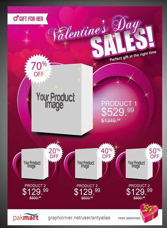 Gift For Her Valentine's Day Sale Flyer PSD Template