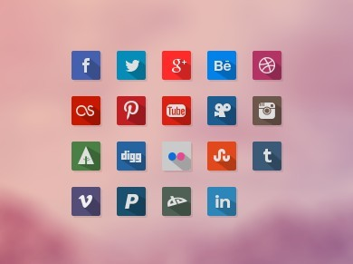Simple Flat Long Shadow Social Icon Set PSD