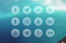 12 Round Transparent Social Icons PSD