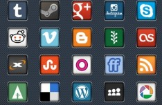 30 Modern Social Media Icons Vector PSD