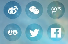 6 Round Transparent Social Icons Vector