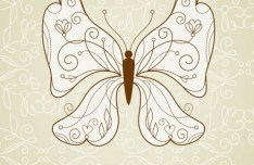 Vintage Line Art Butterfly Vector