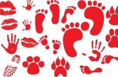 Set of Vector Red Footprints & Handprints
