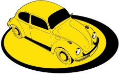 Yellow Old Car Vector Illustration