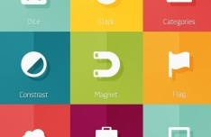 40+ Flat Picto Icons PSD