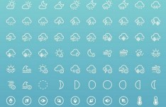 85+ Weather Line Icons PSD