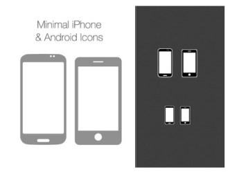 Minimal iPhone & Android Phone Icons PSD