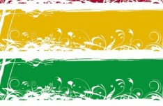 Set of Colored Grunge Floral Banners Vector 03
