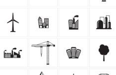 Set Of Vector Dark Industrial Icons