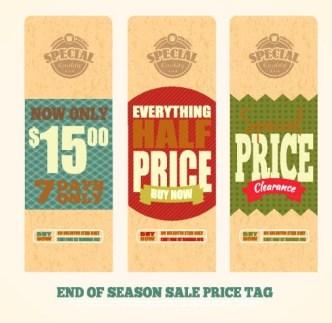 Set Of Vintage Big Sale Price Tags Vector 05