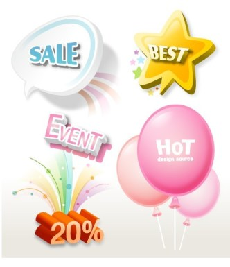 Lovely Retail Sale Labels & Stickers Vector 05