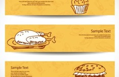 Retro Yellow Food & Drink Banners Vector 01