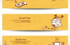 Retro Yellow Food & Drink Banners Vector 02