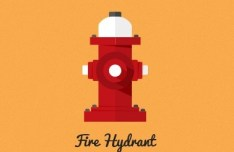 Flat Fire Hydrant Icon PSD