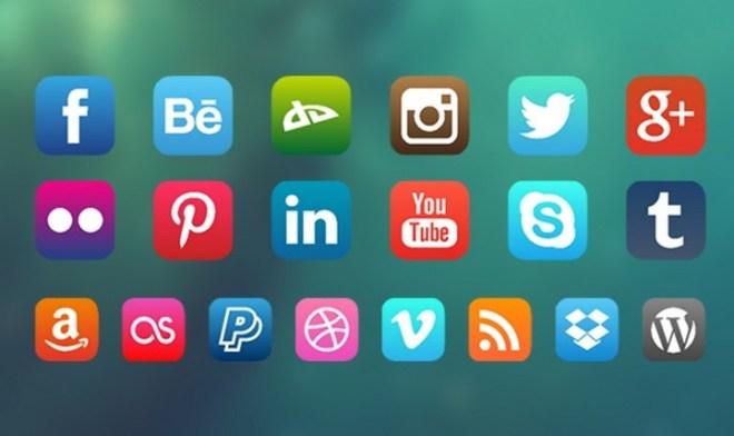 iOS 7 Style Social Media Icon Set Vector