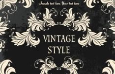 Dark Royal Vintage Floral Frame Vector 04