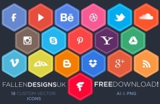 Flat Hexagon Style Social Media Icons Vector