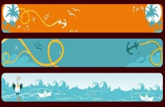 Set of Vector Ocean Themed Banners 01