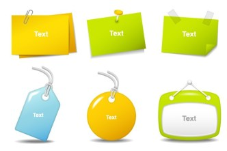 Set Of Colored Sticky Notes & Hanging Tags Vector