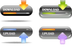 Set Of Fresh Download & Upload Buttons Vector