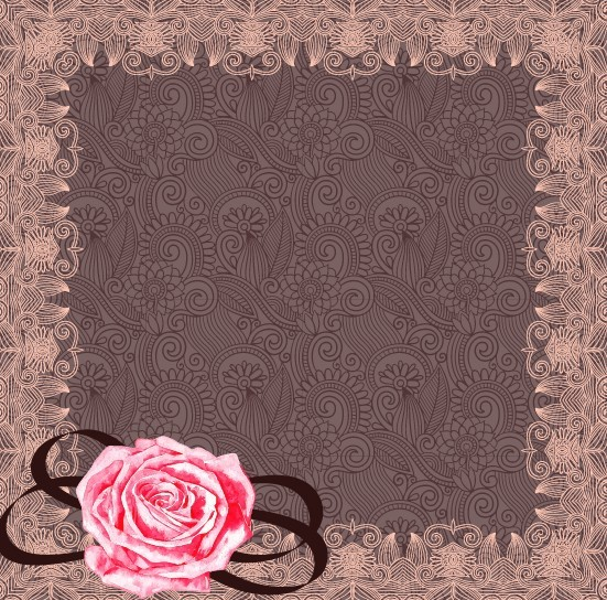 Classical Floral Frame with Pink Flower Ornament Vector