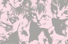 Cute Kitten Pattern Vector