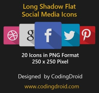 20 Long Shadow Flat Social Media Icons