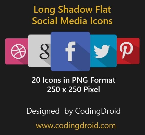 20 Long Shadow Flat Social Media Icons