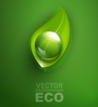 ECO Concept Green Water Drop Background Vector 01
