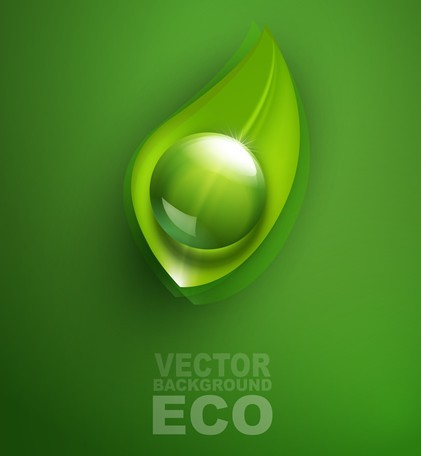 ECO Concept Green Water Drop Background Vector 01