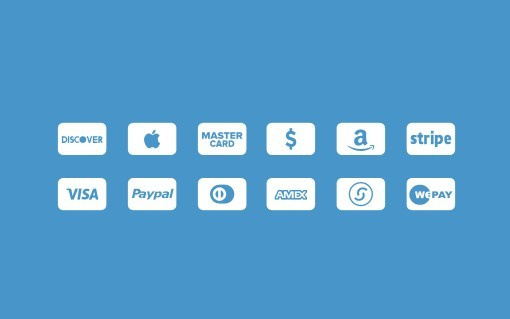 Minimal White and Blue Credit Card Icons PSD