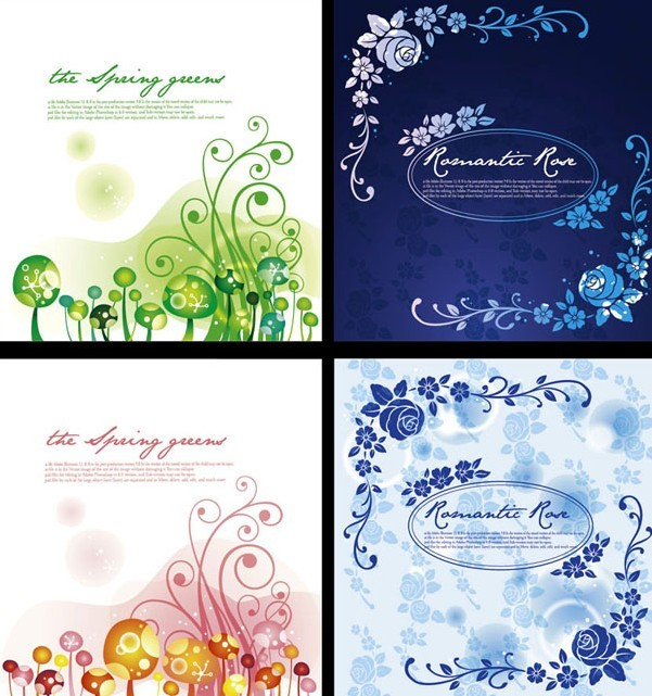 Set Of Fashion Vintage Flower Backgrounds Vector