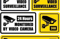 Set Of 24H Monitored By Video Camera Signs Vector