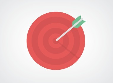 Flat Arrow Hitting Target Bulls-Eye PSD