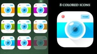 8 Colored Camera App Icons PSD