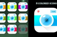8 Colored Camera App Icons PSD