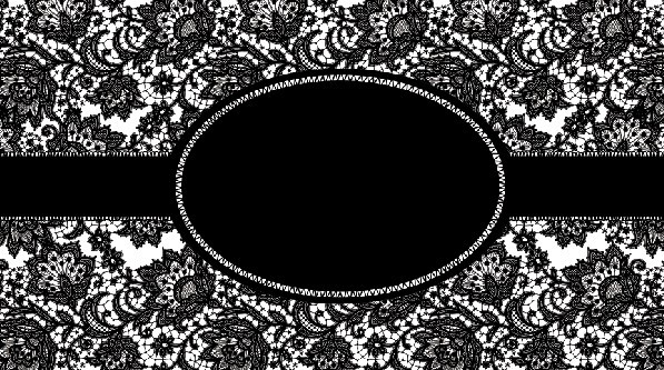 Dark Ribbon Label with Lace Background PSD